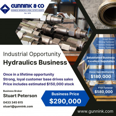 Hydraulics Services Business for Sale Perth